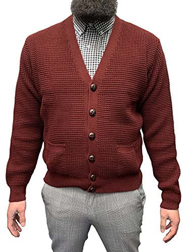 Relco of London Skinhead Mod Waffle Knit Cardigan leather Football Buttons (Medium, wine) from Relco