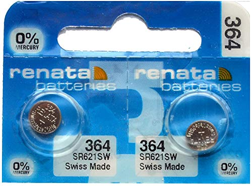 2x Renata Watch Battery - Swiss Made - All Sizes - Silver Oxide Renata Batteries - 315,317,319,321,329,335,337,341,344,346,350,357,361,362,364,366,370,371,373,377,379,381,384,389,390,391,392,393,394,395,396,397 - CR 2450N,1225,1632,1616,1220,1216,2032,1620,2320,2032,2025,2430,2325,2016 (364 (SR621SW)) from Renata