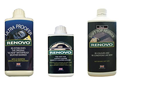 Renovo REN-KIT1 Triple Cleaning Kit includes Soft Top Revivier/ Soft Top Ultra Proofer/ Soft Top Canvas Cleaner, Black from Renovo