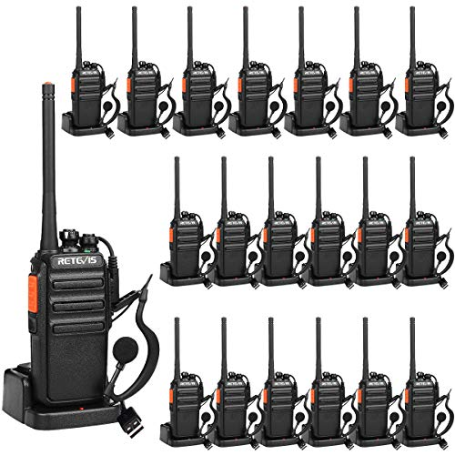 Retevis RT24 Walkie Talkie Rechargeable PMR 446 License-free 16 Channel Subchannel CTCSS DCS with USB Charger Headset Scan Squelch TOT (Black, 20 Pacs) from Retevis