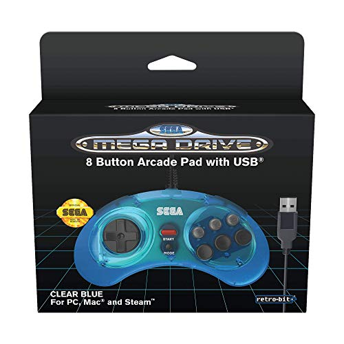 Retro-Bit Official SEGA Mega Drive USB Controller 8-Button Arcade Pad for PC, Mac, Steam, RetroPie, Raspberry Pi - USB Port - Clear Blue from Retro-Bit