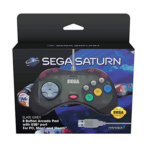 Retro-Bit Official SEGA Saturn USB Control Pad for PC, Mac, Steam, RetroPie, Raspberry Pi - USB Port - Slate Grey from Retro-Bit