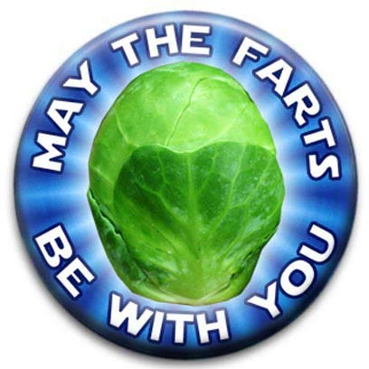May The Farts Be with You Christmas Brussel Sprouts Small Retro Badge from RetroBadge