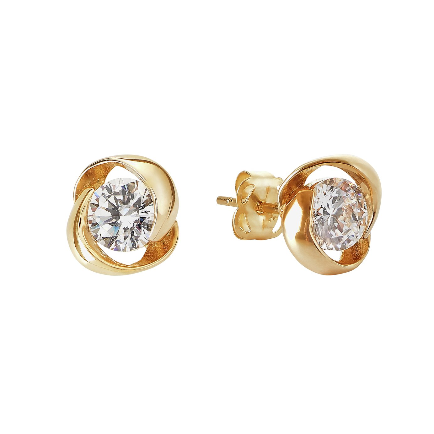f7a8abc68 Revere 9ct Gold Cubic Zirconia Knot Stud Earrings from Revere