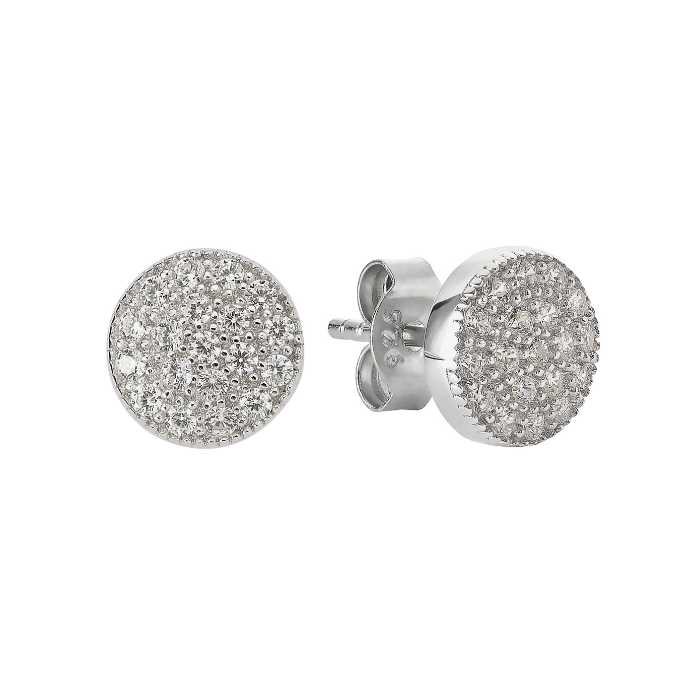 f4fac6d92 Revere Silver Round Pave Cubic Zirconia Stud Earrings from Revere
