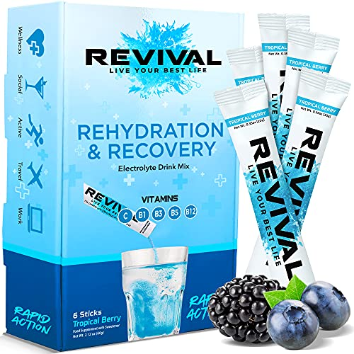 Revival, Rapid Rehydration: Electrolytes Powder - Rehydration Sachet Drink with Vitamins and Minerals, Effervescent Electrolyte Hydration Tablets - 6 Pack Tropical & Berry Blast from Revival Shots