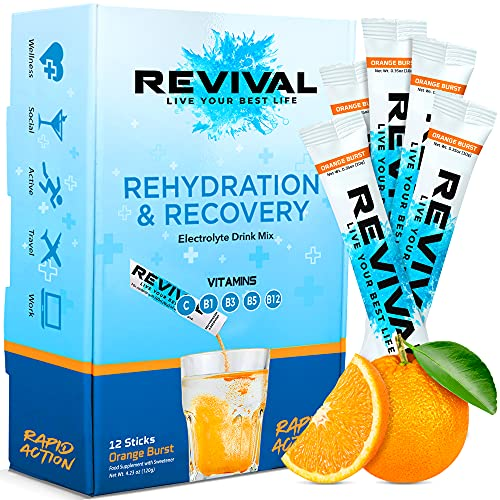 Revival, Rapid Rehydration: Electrolytes Powder - Rehydration Sachet Drink with Vitamins and Minerals, Effervescent Electrolyte Hydration Tablets - From BBC's The Apprentice, 12 Pack Orange Burst from Revival Shots