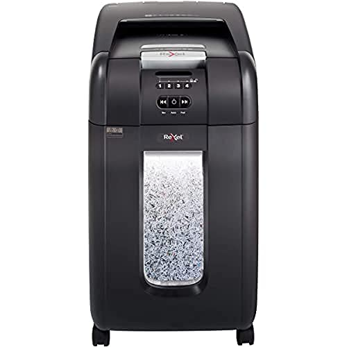 Rexel Auto+ 300M 2104300 Auto Feed 300 Sheet Micro Cut Shredder for Small Office Use (Up to 10 Users), 40 Litre Bin, Includes Shredder Oil Sheets, Black from Rexel