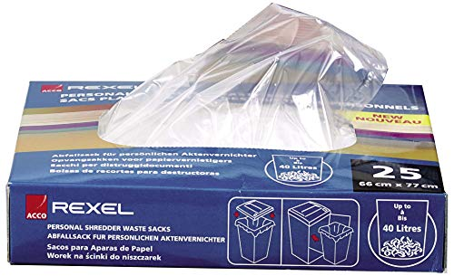Rexel Plastic Waste Bags for Large Departmental Shredders, 115 L Capacity, Pack of 100, 40070 from Rexel