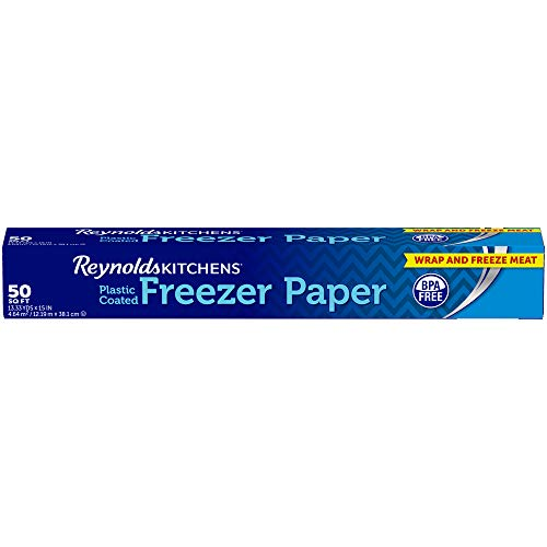 Reynolds Freezer Paper, Plastic Coated, 50 Sq Ft | IDEAL FOR WRAPPING MEAT AND PRODUCE IN THE FREEZER | Other Uses: Patchwork and Quilting, Machine Embroidery, Templates and Crafting from Reynolds Freezer Paper