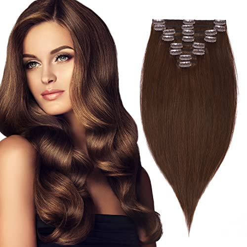 "10"" Clip in Hair Extensions Remy Human Hair 4# Medium Brown 8Pieces Straight Natural 18 Clips Short (10inch-75g) from Rich Choices"