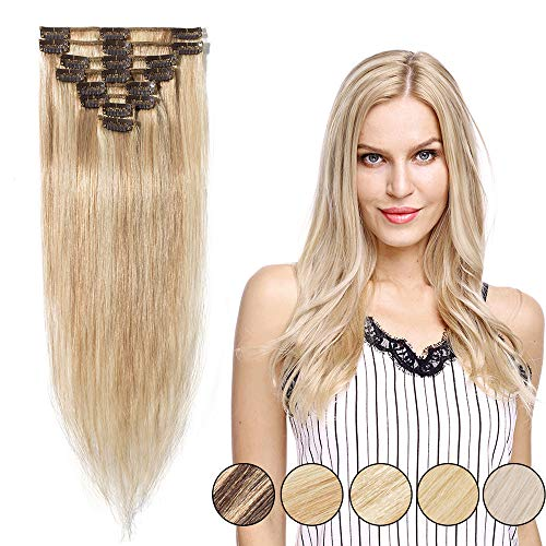 "100% Real Remy Hair Clip in Human Hair Extensions Full Head 8pcs 16-22inch Grade 7A Long Straight Natural 18 Clips Highlighted, 16""-65gram, 18 Ash Blonde mix 613# Bleach Blonde from Rich Choices"