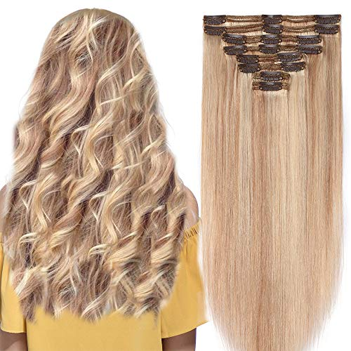 "16"" Double Weft Clip in Human Hair Extensions Real Remy Hair Full Head 8 Pieces 130g Thick Long Straight Natural,18#/613# Ash Blonde mix Bleach Blonde from Rich Choices"