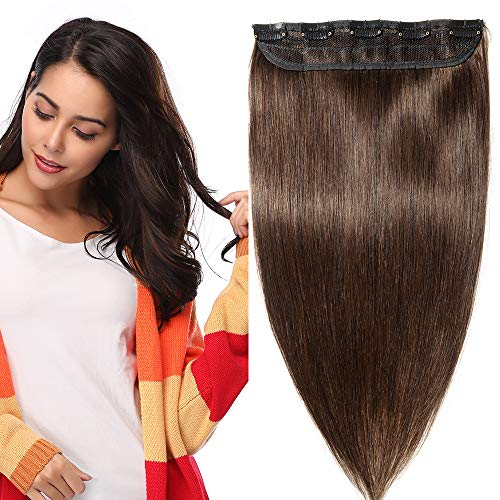 One Piece Clip in 100% Remy Human Hair Extensions Long Straight 3/4 Full Head Real Hair 5 Clips,15 Inch #2 Dark Brown from Rich Choices