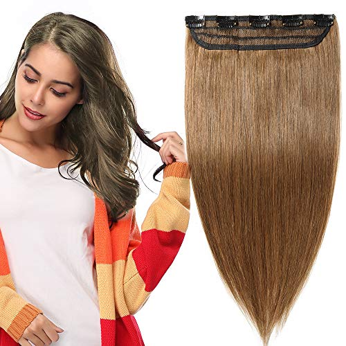16 inch One Piece Clip in 100% Remy Human Hair Extensions Long Straight 3/4 Full Head Real Hair 5Clips, 45g #6 Light Brown from Rich Choices
