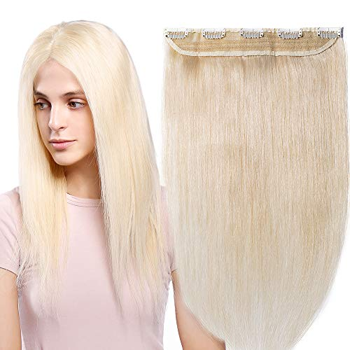 20 inch One Piece Clip in 100% Remy Human Hair Extensions Long Straight 3/4 Full Head Real Hair 5Clips, 50g #60 Platinum Blonde from Rich Choices