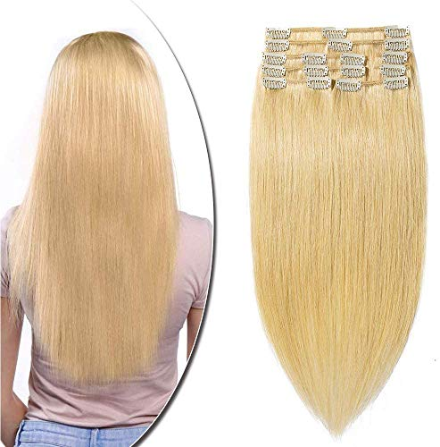"22"" Clip in Human Hair Extensions 100% Real Remy Full Head 8 Pieces Long Straight for Beauty (22inch-110g Natural Blonde 24#) from Rich Choices"