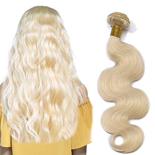 "24"" Blonde Hair Extensions Virgin Human Hair 100g/pack 1 Bundle Grade 8A Unprocessed Brazilian Hair Weave Weft, Body Wave 60# Platinum Blonde from Rich Choices"