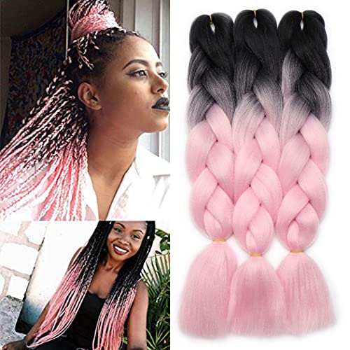 3 Pcs /300g 24'' Two Ombre Jumbo Braiding Hair Synthetic Braid Hair Extensions Black to Pink from Rich Choices