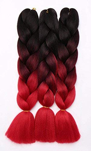 3 Pcs /300g 24'' Two Ombre Jumbo Braiding Hair Synthetic Braid Hair Extensions Black to Wine Red to Red from Rich Choices