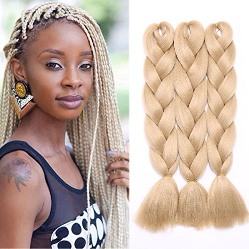 3 Pcs /300g 24'' Two Ombre Jumbo Braiding Hair Synthetic Braid Hair Extensions Ash Blonde from Rich Choices