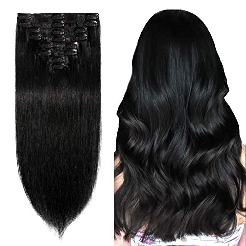 "8"" Clip in Hair Extensions Remy Human Hair Full Head - Standard Weft 8 Pieces Short Straight (8inch-65g Dark Black 1#) from Rich Choices"