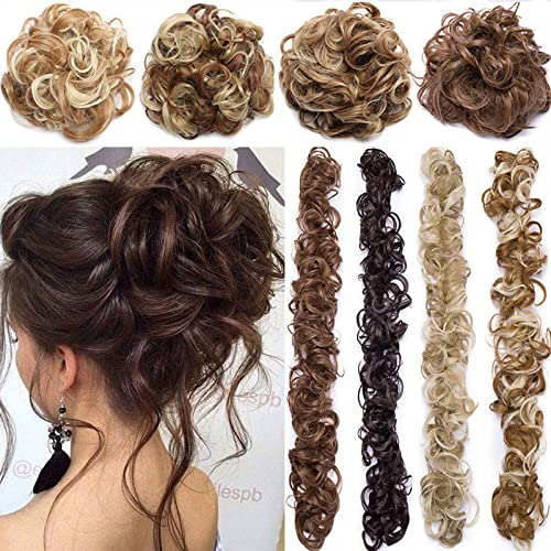 Bun Up Do Hair Piece Hair Ribbon Ponytail Extensions Wavy Curly Donut Hair Chignons Wig Light Brown & Ash Blonde Hairpiece from Rich Choices