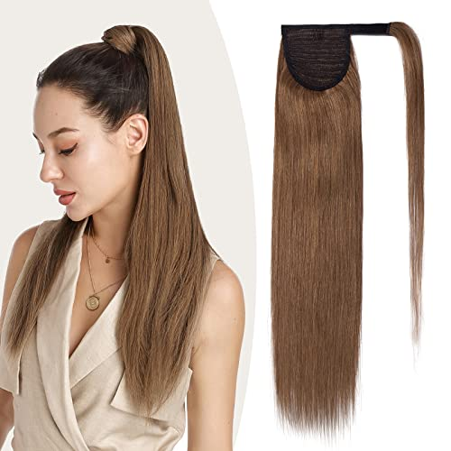 "Clip in Ponytail Hair Extensions Human Hair Wrap Around Real Hair Remy One Piece Long Straight, 16""-80g, 6 Light Brown from Rich Choices"