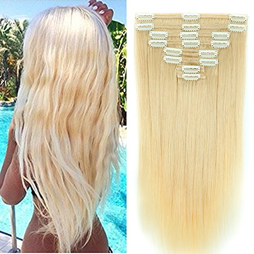 Double Weft 100% Remy Human Hair Clip in Extensions Full Head 8 Pieces - 14inch 120g Platinum Blonde #60 - Thick Long Straight Natural from Rich Choices