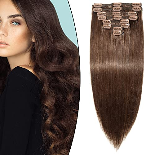 Full Head Clip in Hair Extensions Remy Human Hair Double Weft 8 Pieces - 16 inch 130g 4# Medium Brown - Thick Long Straight Natural from Rich Choices