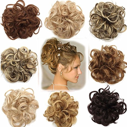 Scrunchy Scrunchie Bun Updo Hairpiece Hair Ribbon Ponytail Extensions Hair Extensions Wavy Curly Messy Hair Bun Donut Hair Chignons Hair Piece Wig Light Brown to Ash Blonde from Rich Choices