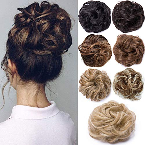 Messy Hair Scrunchies Hair Bun Extensions Curly Wavy Hair Pieces For Women Updo Ponytail Hair Extensions Hair Donut Hair Chignons Hair Accessories - Sandy Blonde to Bleach Blonde from Rich Choices
