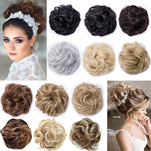 Real Fashion Hair Extensions Hairpiece Hair Rubber Scrunchie Scrunchy Updos VOLUMINOUS Curly Messy Bun Ash Blonde & Bleach Blonde from Rich Choices