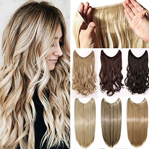 "Secret Wire in Hair Extensions Straight Curly Wavy Hair Extension Long Hairpiece Blonde Brown Black Color For Women 20"" Straight - Dark blonde mix bleach blonde from Rich Choices"