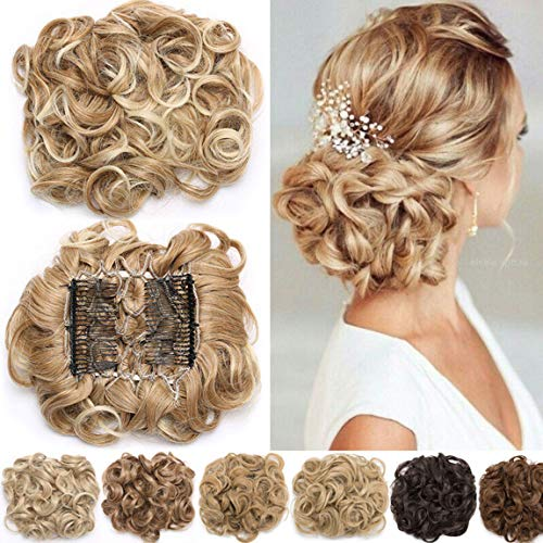 Short Combs Messy Curly Wavy Hair Extensions Bun Piece Up Do Drawstring Ponytail Clip in Comb Hair Extensions Chignon Silver Grey from Rich Choices