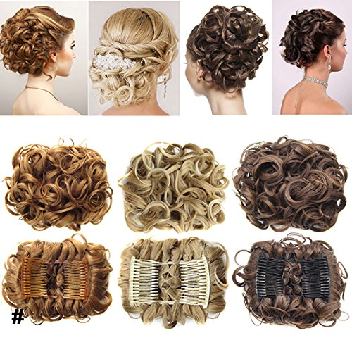 Short Messy Curly Dish Hair Bun Extension Easy Stretch hair Combs Clip in Ponytail Extension Scrunchie Chignon Tray Ponytail Hairpieces - Light Brown from Rich Choices