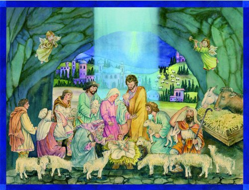 Large Advent Calendar 24 doors 355 x 260 mm - Baby Jesus nativity - with glitter and translucent windows bible verses behind doors - RS70102 - traditional antique German Design from Richard Sellmer Verlag