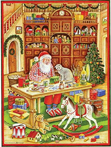Large Advent Calendar 24 doors 355 x 260 mm - Festive Santa making toys - with glitter and translucent windows - RS 752 - traditional antique German Design from Richard Sellmer Verlag