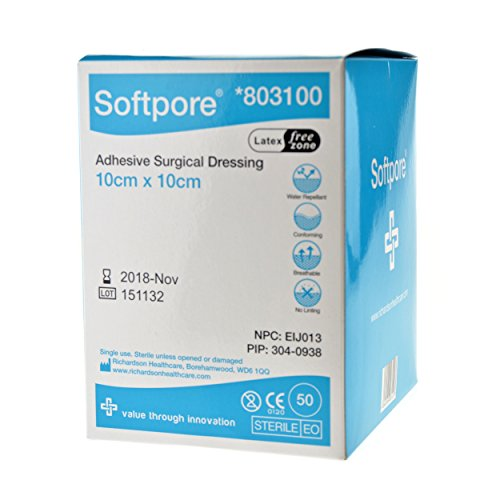 Softpore Adhesive Surgical Dressing 10cm x 10cm (10 SINGLE DRESSINGS) from Richardson Healthcare