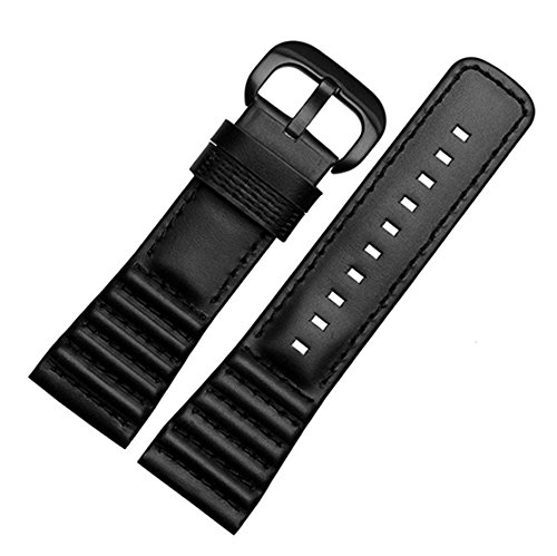 [Richie strap] 28mm Black Leather Watch Strap Band Buckle For SevenFriday P1 P2 P3 Watches (Black) Black buckle from Richie strap