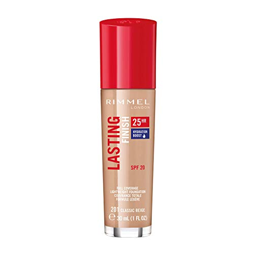 Rimmel London Lasting Finish 25-Hour Liquid Foundation, Sweat Proof and Full Coverage Formula with SPF 20 Formula, Classic Beige, 30 ml from Rimmel