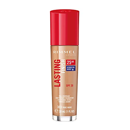 Rimmel London Lasting Finish 25-Hour Liquid Foundation, Sweat Proof and Full Coverage Formula with SPF 20 Formula, True Nude, 30 ml from Rimmel