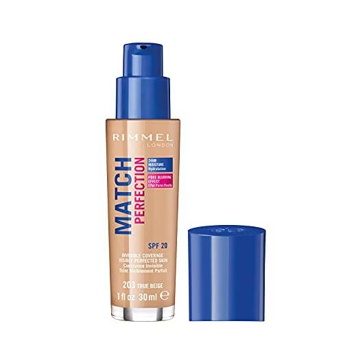 Rimmel London Match Perfection Foundation, SPF 20, 203 True Beige, 30 ml from Rimmel
