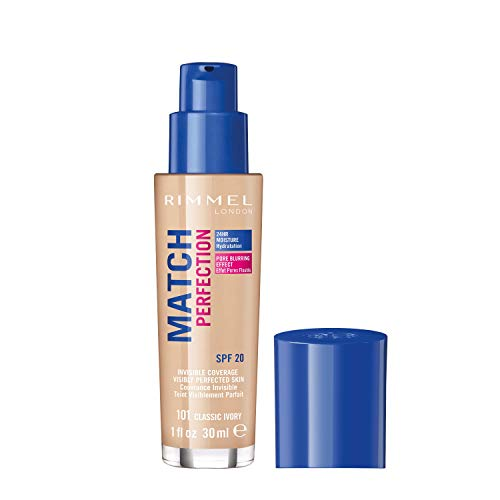 Rimmel London Match Perfection Liquid Foundation, Long-lasting Hydrating Formula with Smart-tone Technology and SPF 20 Formula, 101 Classic Ivory, 30 ml from Rimmel