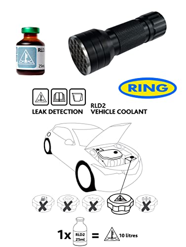 UV Dye & UV Torch Kit Leak Detection Fluid For Car Cooling Antifreeze System RLD2 from Ring