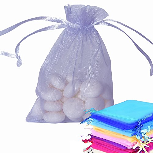 Organza Gift Bags Wedding Party Favour Jewellery Packing Pouches (Lilac, 50) from Risai