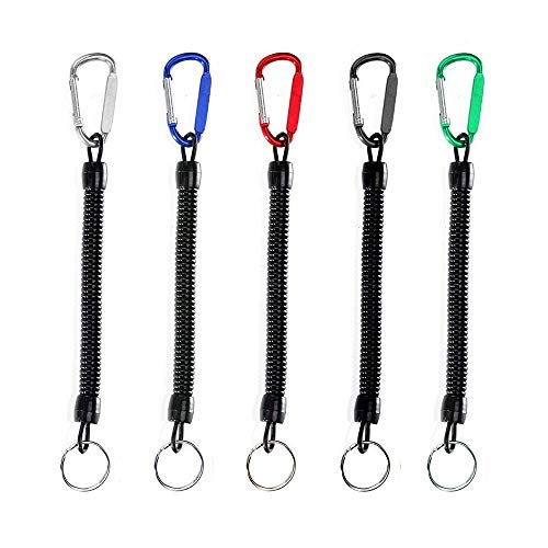 5Pcs Stretchy Spiral Keyring With Color Carabiner,Spiral Retractable Coil Spring Key chain Theftproof Anti-Lost Stretch Cord Safety Key Ring with Metal for Keys, Wallet, Cellphone (Random Color) from Ritte