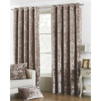 Verona Crushed Velvet  Ready Made Lined Eyelet Curtains Oyster from Riva