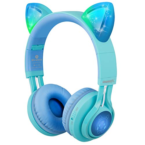 Kids Headphones, Riwbox CT-7S Cat Ear Bluetooth Headphones Volume Limiting 85dB,LED Light Up Kids Wireless Headphones Over Ear with Microphone for iPhone/iPad/Laptop/PC/TV (Blue&Green) from Riwbox