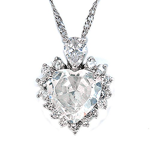 "Rizilia OCEAN HEART Pendant with 18"" Chain & Heart Cut Gemstones CZ [White Topaz] in 18K White Gold Plated, Simple Modern Elegance from Rizilia"
